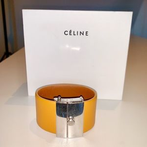 Celine Orange Leather Cuff Bracelet